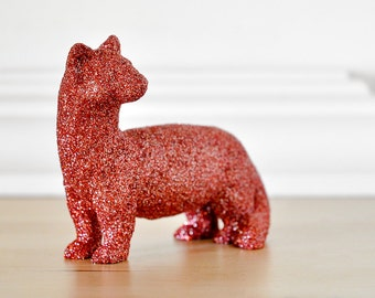 Garret the Sparkly Ferret in Coral Red Glitter for Baby Showers/ Nurseries, Weddings, Birthday Decoration or Unique, Fun Home Decor