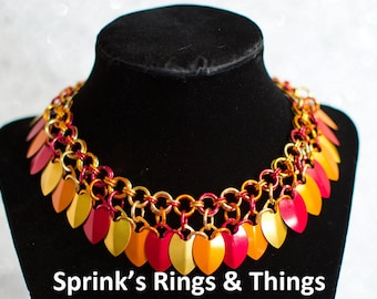 Fire mix scale necklace