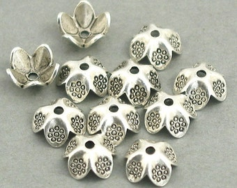 Flower Bead Caps Hill Tribe Antique Silver 12pcs base metal 9mm BD0051SC