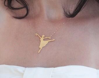 Ballerina Necklace, Gold Ballet Dancer, Ballerina Pendant, Ballerina Gift, Ballet Necklace, Dancer Gift, Ballerina Jewelry, Ballerina Charm