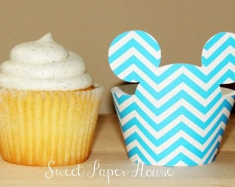 24 Mickey Mouse Cupcake Wrappers (Blue Chevron, Black) (Cardstock, Disney, Cartoon, Minnie and Mickey, Mickey Ears, Bday, Baby Shower, Boy)