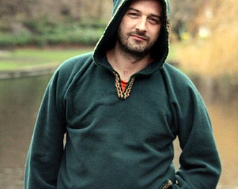 Medieval Pixie Hoodie - Green Hippie Elven Rave or Festival Top - Legend of Zelda - PSY hoodie - game of thrones- Christmas gift for him