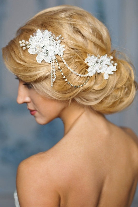 Bridal Headpiece Beaded Lace Hair Accessories bridal pearl headpiece, lace wedding-Laira