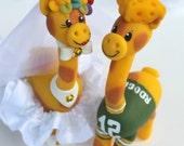 Giraffe wedding cake topper, cheese head groom, sport themed wedding, rainbow wedding
