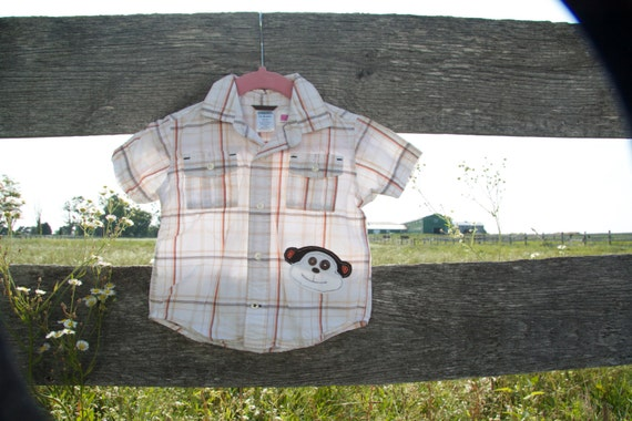 12-24 m Monkey Button Up Tshirt with Applique Baby Boy