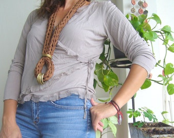 Knit statement long in chocolate brown/Knit necklace with brass loops