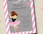 Printable Ballerina Birthday Invitation - Pink and Grey Ballet Slippers