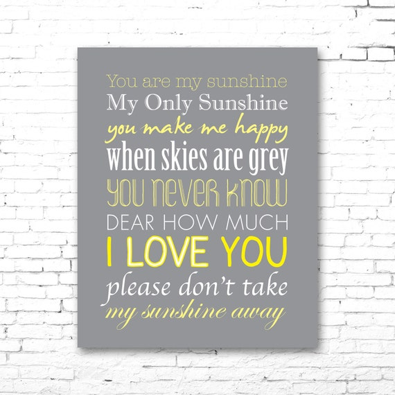 You are my sunshine printable lyrics artwork grey yellow you are my sunshine printable lyrics artwork grey yellow stopboris Gallery