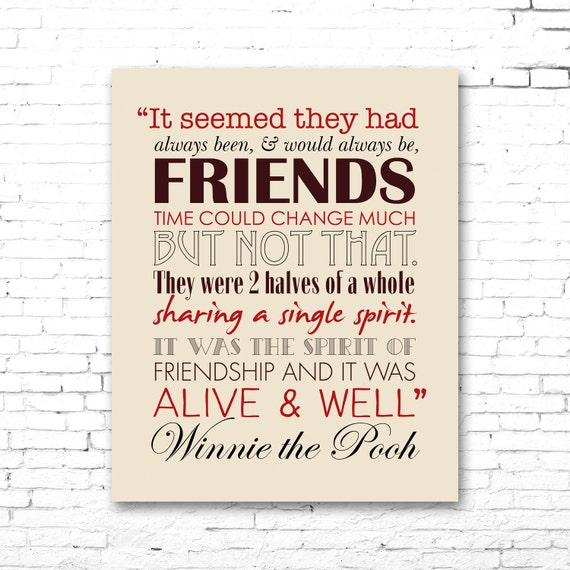 Winnie The Pooh Quote About Friendship Gorgeous Winnie The Pooh Printable Friendship Quote Artwork Red