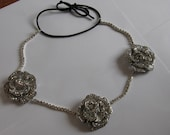 Silver Metal Crystal Flower Chain Elastic Headband, for Bridal, weddings, parties, evening, cocktail, special occasions