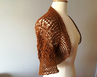 Brown crochet shrug bolero