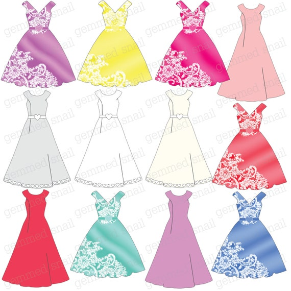 Wedding Gown Clip Art: Items Similar To Wedding Clipart, Wedding Dress Clipart