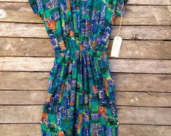 1980's Classic Geometric Rayan Dress with pockets