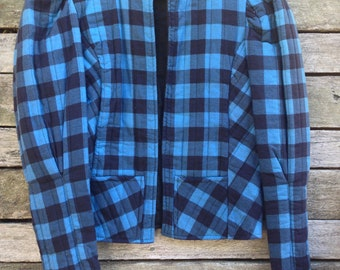 1970's 'Eber San Francisco' Quilted Blue and Black Plaid Women's Puff Sleeve Lumberjack Jacket