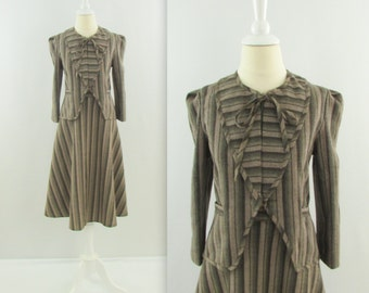 On Sale Vintage 1970s Womens Wool Skirt Suit - Small in Brown & Khaki Stripe
