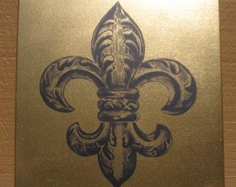 Hand Spray Painted - Fleur De Lis - Black and Gold spray paint stencil art on canvas
