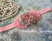 pink floral Headband/Baby Headband/infant headband/Newborn Headband/Photo prop/Elastic Headband