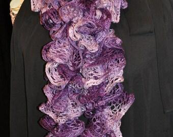 Handmade Knitted Ruffle Scarf