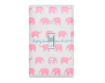 Pink Elephant Switch Plate Cover / Japanese Kawaii Baby Girl / Nursery Decor / Kids Room / Fumika Oishi Fabric