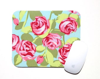 Round Mouse Pad / Tumbled Roses / Amy Butler Pink Green Aqua / Home Office Decor / Slightly Smitten Kitten