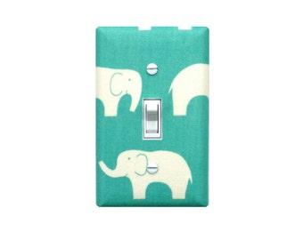 Aqua Pool Elephant Nursery Decor / Light Switch Plate Cover / Baby Girl Ellie / Organic Cotton By Birch