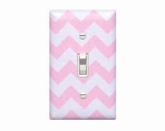Chevron Nursery Decor / Light Switch Plate Cover / Baby Girl Pink and White / Slightly Smitten Kitten
