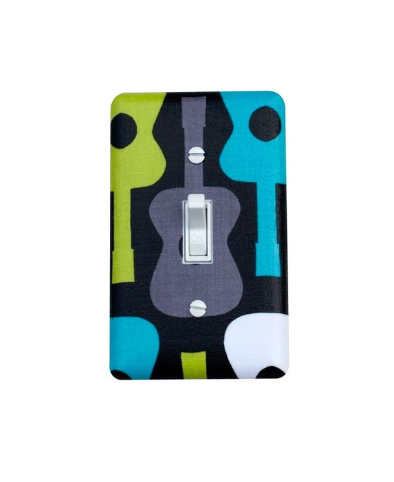 Groovy Guitar Light Switch Plate Cover / Lagoon / Children Kids Room / Baby Boy Nursery Decor / Michael Miller Guitars