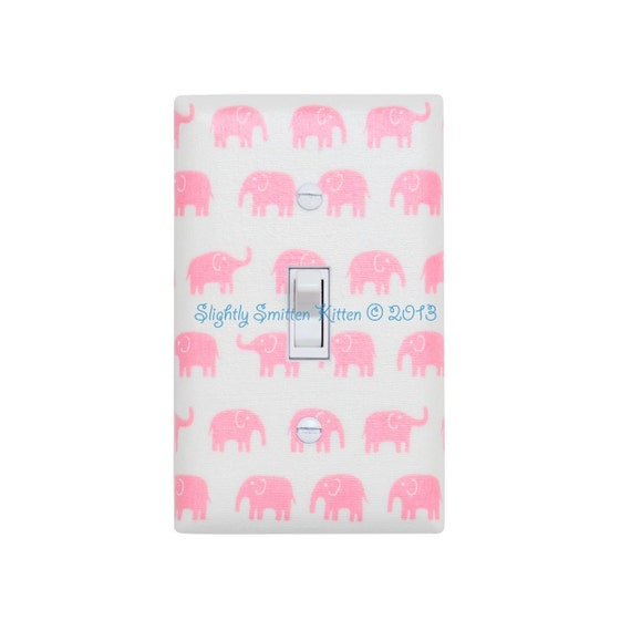 Pink Elephant Switch Plate Cover / Japanese Kawaii Baby Girl / Nursery Decor / Kids Room / Fumika Oishi Fabric