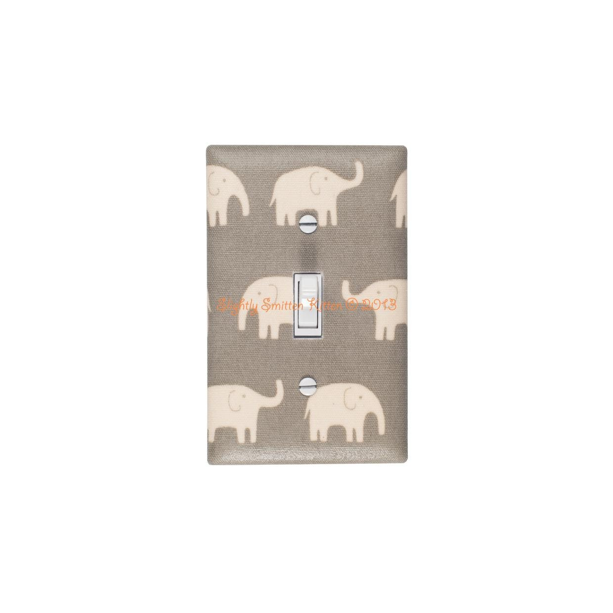 Elephant Switchplate Gray Light Switch Plate Cover Baby