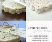 Crochet Pattern Pack - 3 Crochet Coasters - PDF