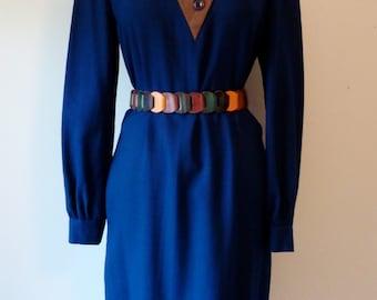 80's Designer Robert Leonard Futuristic Color Block Thin Wool Dress Navy Brown Designer M L