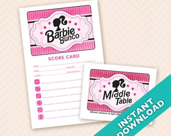 Printable Hot Pink Doll Bunco Scorecard and Table Marker Set  (a.k.a. Bunko, score card, score sheet)