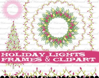 Christmas clip art digital frames tree clip art holiday tree clipart in pink green yellow winter wreath lights : h1053 3s02