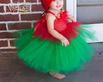CHRISTMAS Elf - Elf Costume - Tutu with Elf Hat - Size 6 month to 2T - Shelf Elf - Baby Christmas Outfit - Christmas Elf - Elf Dress