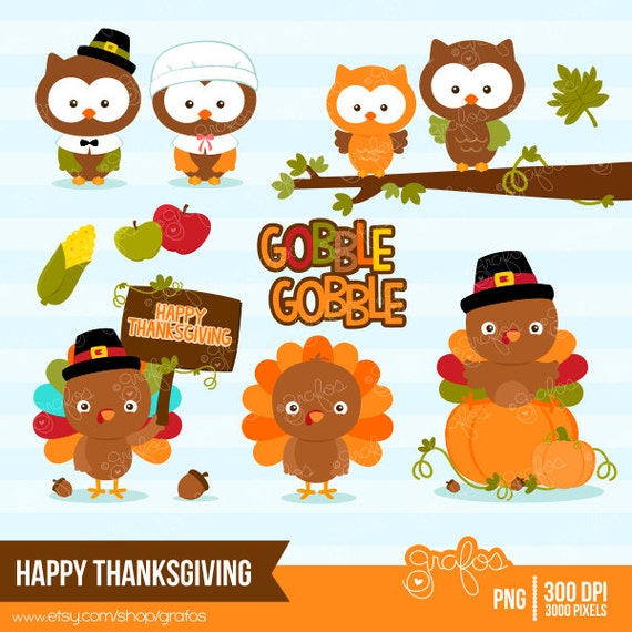 HAPPY THANKSGIVING Digital Clipart Thanksgiving Turkey by grafos