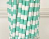 25 Aqua Sailor Paper Straws, Under the Sea Party, Birthday Party, Wedding Supplies, Baby Shower,  Drinking straws, Supplies
