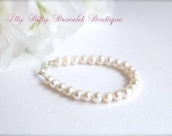 Real Pearls Girls Keepsake Bracelet Freshwater Pearls Flower Gift, 1st Pearls, Birthday, Baptism, Communion, Wedding