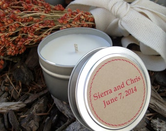 10 Soy tin candle favors wedding favors shower favors outdoor wedding lighting custom wedding favors Montana wedding Montana soy candles