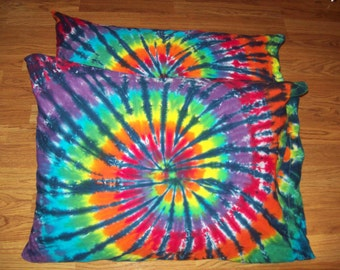 2 Tie Dye Pillow Cases- Set of 2-  tie dye pillowcases, tie dye bedding, Rainbow Tiger
