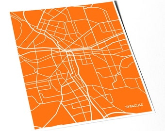 Syracuse NY City Map Print / New York Art University Grad Gift / 8x10 Dorm Decor / Choose your color