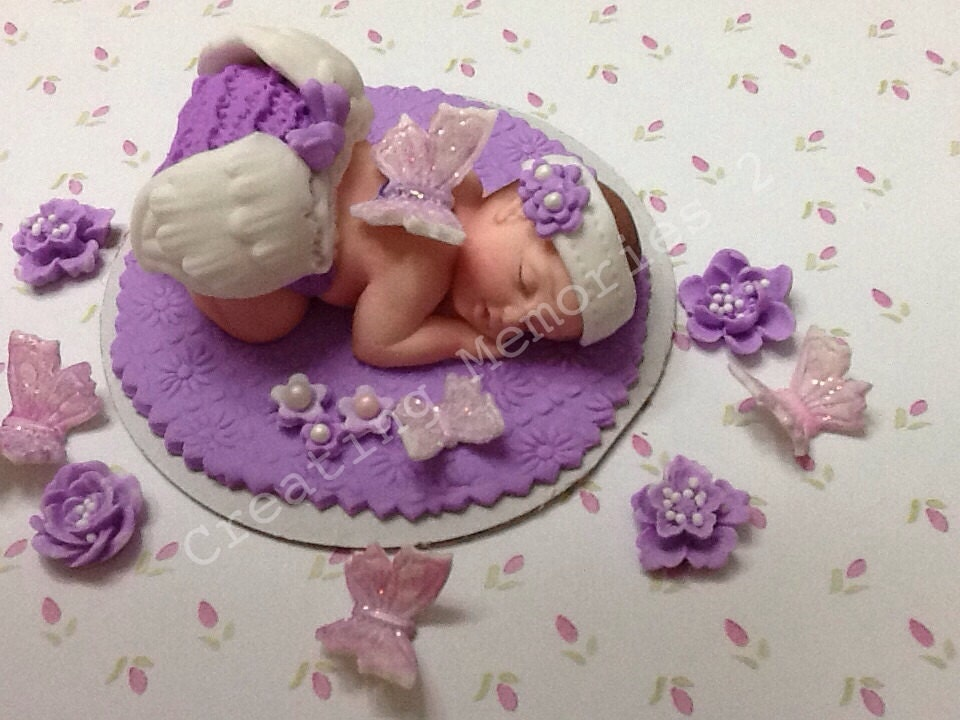 Butterfly Cake Toppers Baby Shower : BABY SHOWER Edible Fairy Cake Topper in Purple and White