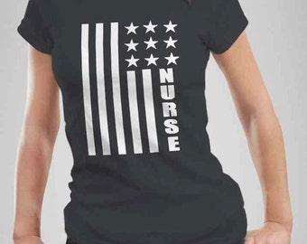 American Flag Nurse T-Shirt, Nurse Flag Tshirt, New Nurse, Gift for Nurses, Nurse Birthday