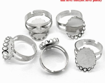5 Silver Rings - Antique - Holds 18x13mm Cabochons - Scalloped Edges - 18.3mm - Ships IMMEDIATELY from California - A281
