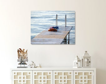 Lake Canvas, Cottage Wall Decor, Blue Photograph,  Dock Photography, Large Canvas, Swimming Wall Art