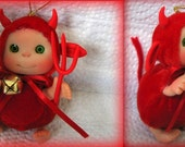 Little Red Devil  Cute Heartwarmer Doll  Decoration for home by Larysa Champagne made by order