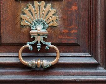 Paris Door Photograph - Brass Door Knocker, Architectural Fine Art Print, French Travel Photograph, Large Wall Art