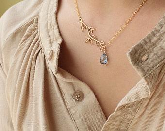 Tree Branch Necklace, Blue Quartz Gemstone Jewelry, Autumn Trend, Fall Finds, Birthday Wedding Jewelry, Something Blue, September Birthstone