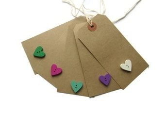 Brown wedding heart tags with wooden buttons - wedding favour