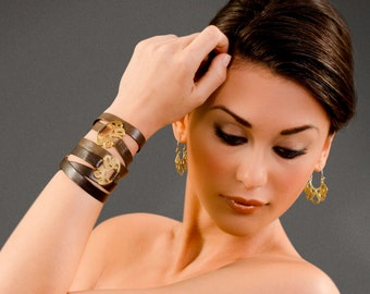 Butterfly bracelet brown wrap bracelet gold brown bracelet butterfly wing bracelet