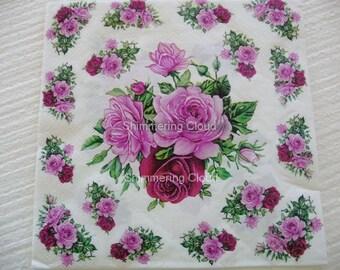 Flower, Floral, Paper Napkins, Decoupage, white,  multicolor, Scrapbooking, spring, pale,
